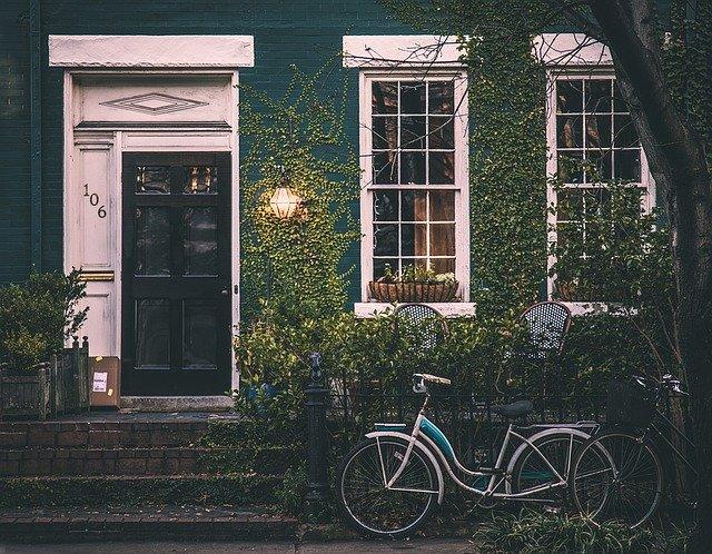 a house and a bike